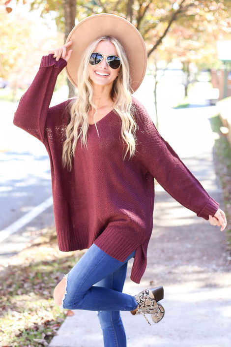 Burgundy - Oversized Knit Sweater Full View