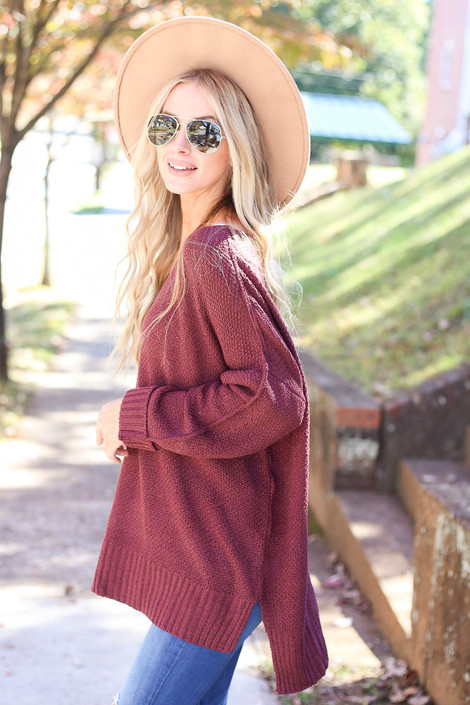 Burgundy - Oversized Knit Sweater Side View