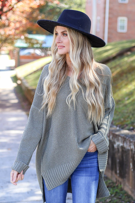 Olive - Oversized Knit Sweater Front View