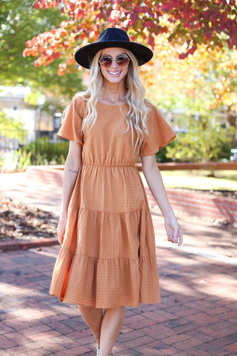 Rust - Tiered Midi Dress