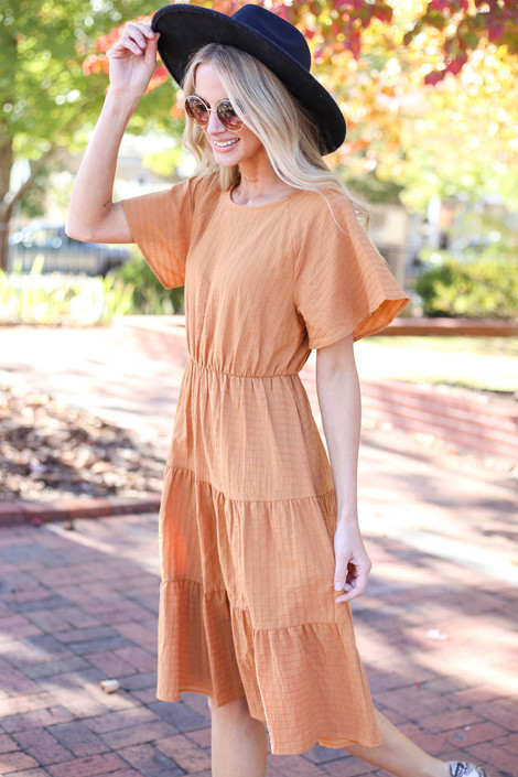 Rust - Tiered Midi Dress Side View