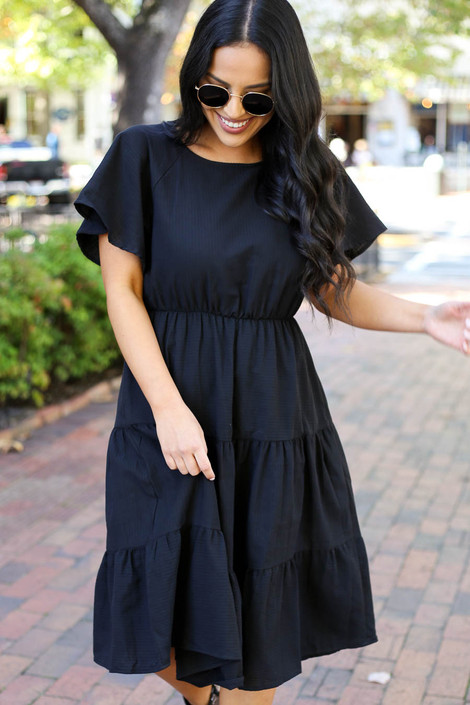 Dress Up Model wearing Black Tiered Midi Dress Front View