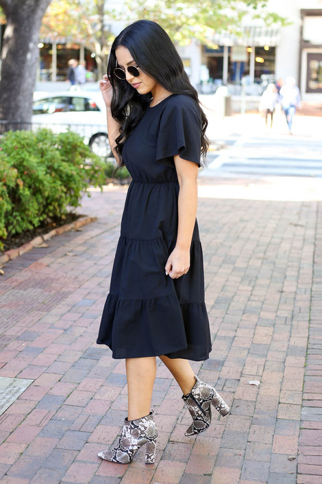 Black - Tiered Midi Dress Side View