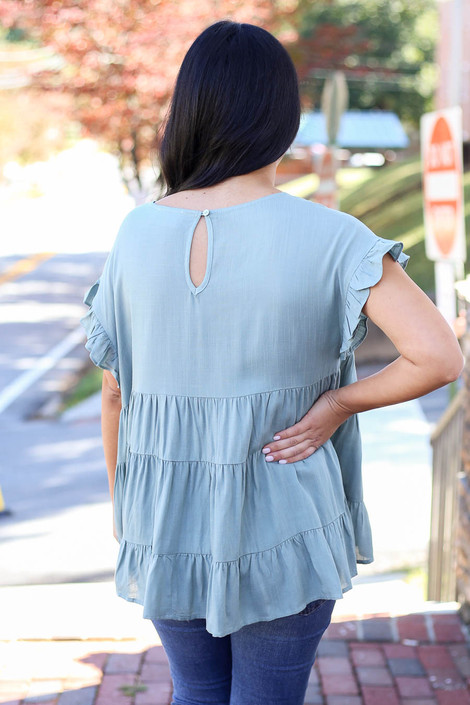 Sage - Tiered Ruffle Sleeve Top Back View