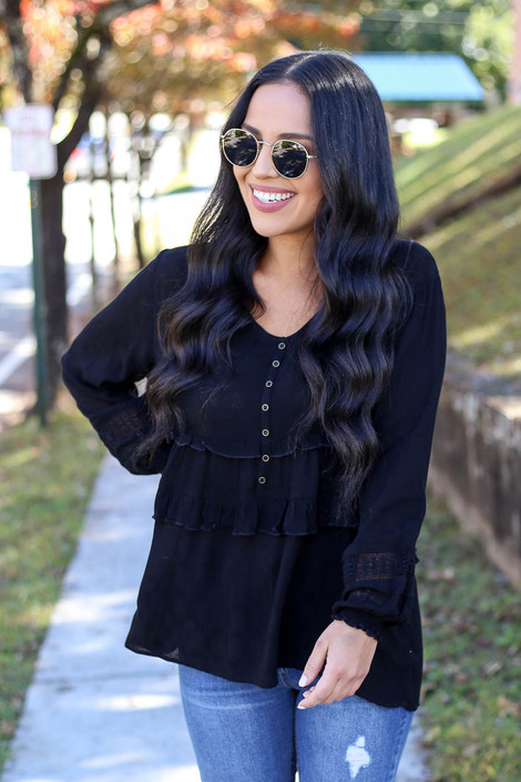 Black - Button Babydoll Blouse