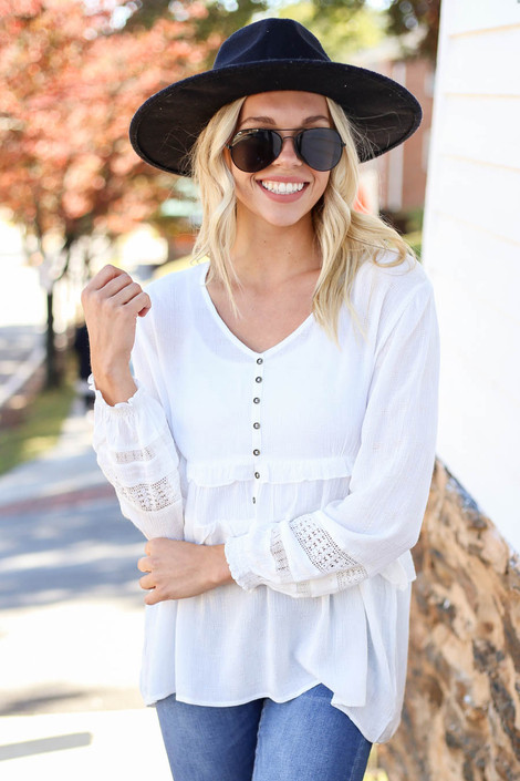 Kelly Textured Babydoll Blouse