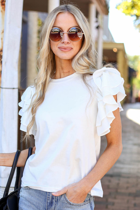 White - Ruffle Sleeve Top