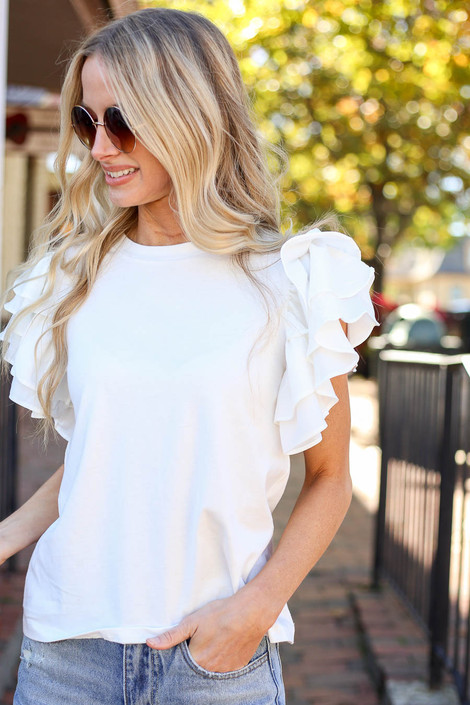 White - Ruffle Sleeve Top Detail View