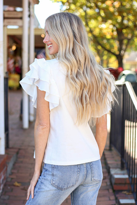 Dress Up Model wearing White Ruffle Sleeve Top Back View