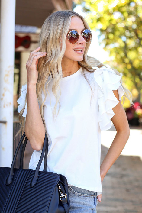 Dress Up Model wearing White Ruffle Sleeve Top Front View