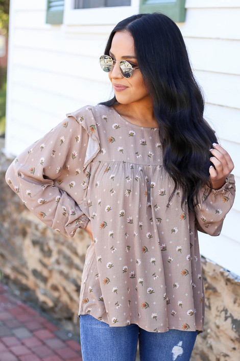 Taupe - Floral Blouse