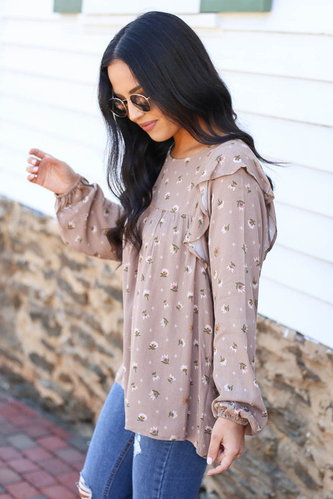 Taupe - Floral Blouse Side View