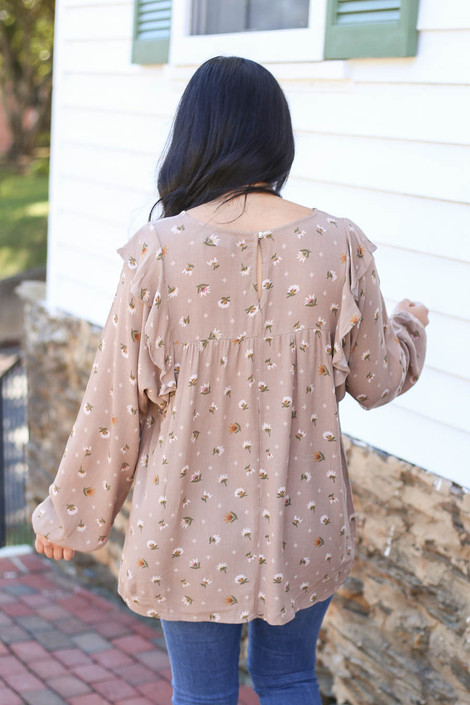 Taupe - Floral Blouse Front View