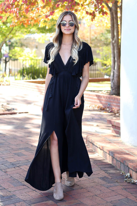Black - Crochet V-Neck Maxi Dress