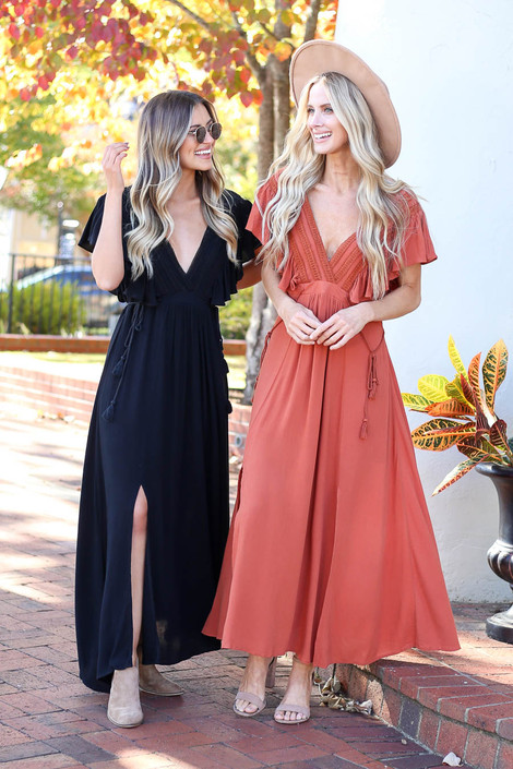 Black - and Rust Crochet V-Neck Maxi Dress