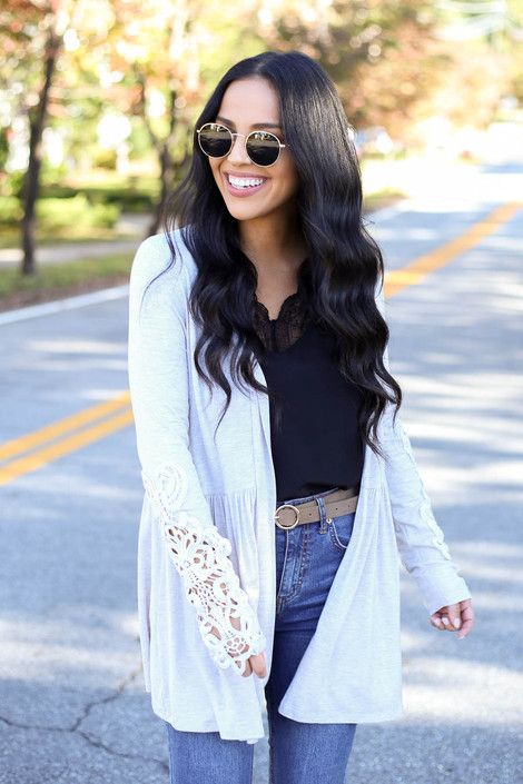 Dress Up Model wearing Taupe Crochet Sleeve Babydoll Cardigan