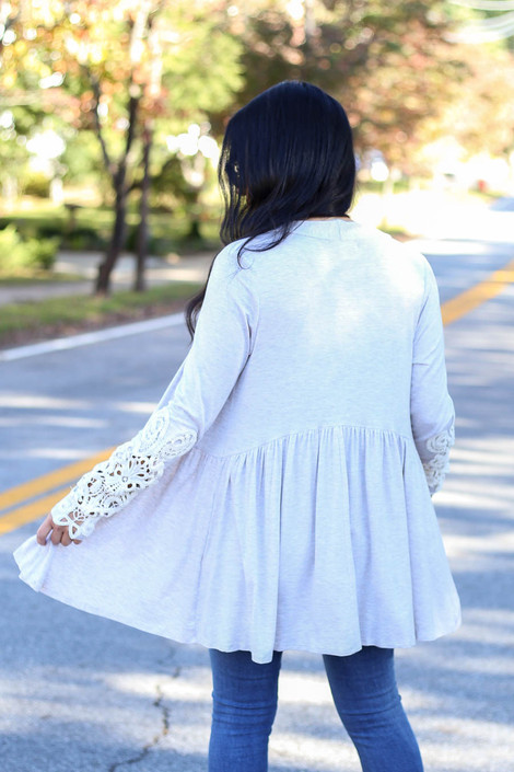 Dress Up Model wearing Taupe Crochet Sleeve Babydoll Cardigan Back View