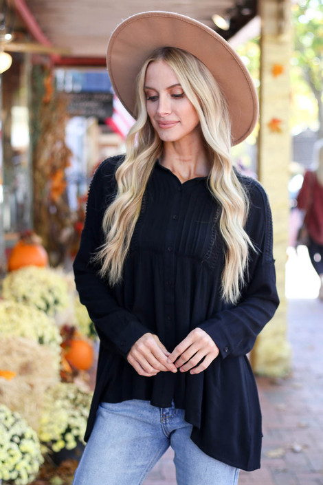 Dress Up Model wearing Black Button Up Lace Top