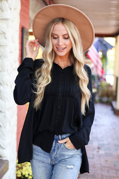 Black - Button Up Lace Top