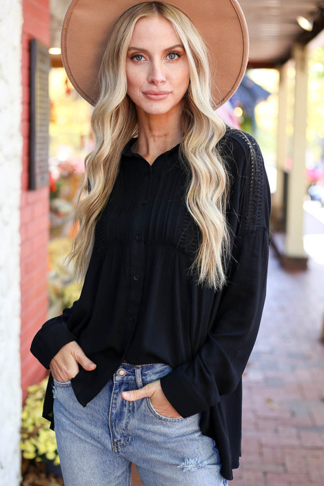 Dress Up Model wearing Black Button Up Lace Top Front View