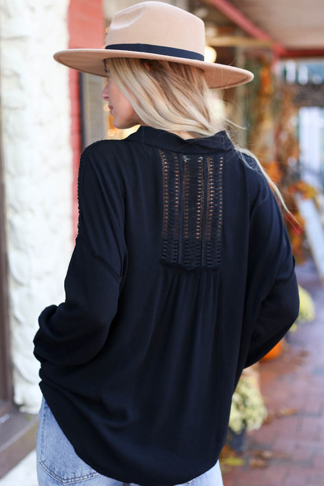 Black - Button Up Lace Top Back View