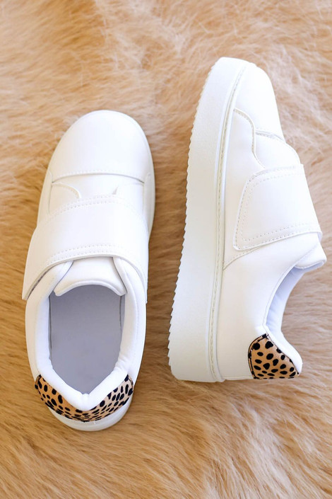 White - Platform Tennis Shoes with Leopard Heel Patch Flat Lay