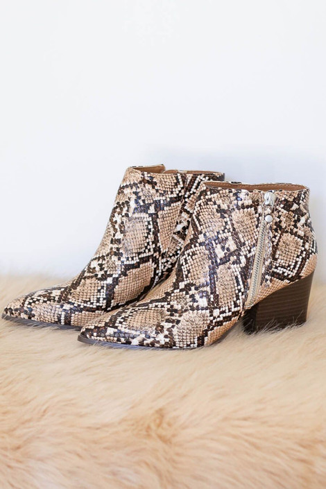Taupe - Snakeskin Pointed Toe Ankle Booties with side zipper detail