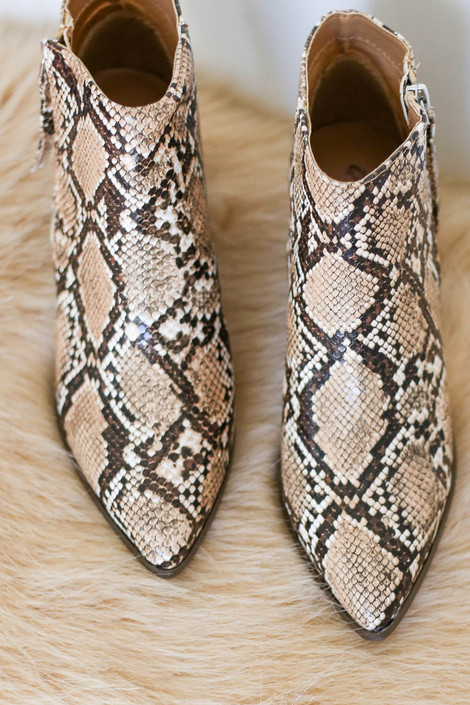 Taupe - Snakeskin Pointed Toe Ankle Booties Top View