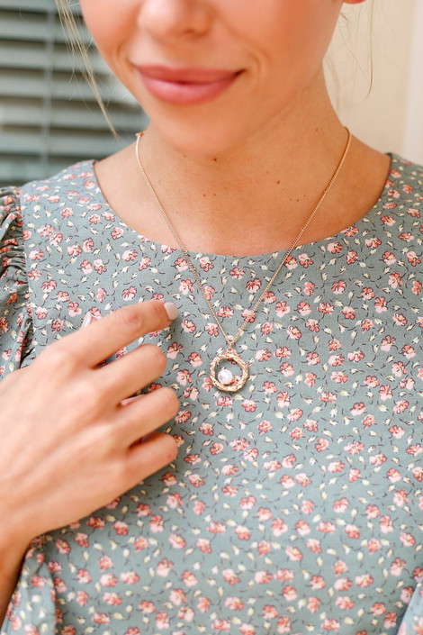 Gold - Pearl and Circle Charm Necklace