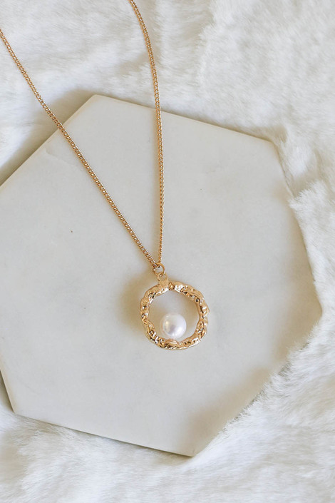 Gold - Pearl and Circle Charm Necklace Flat Lay Detail View