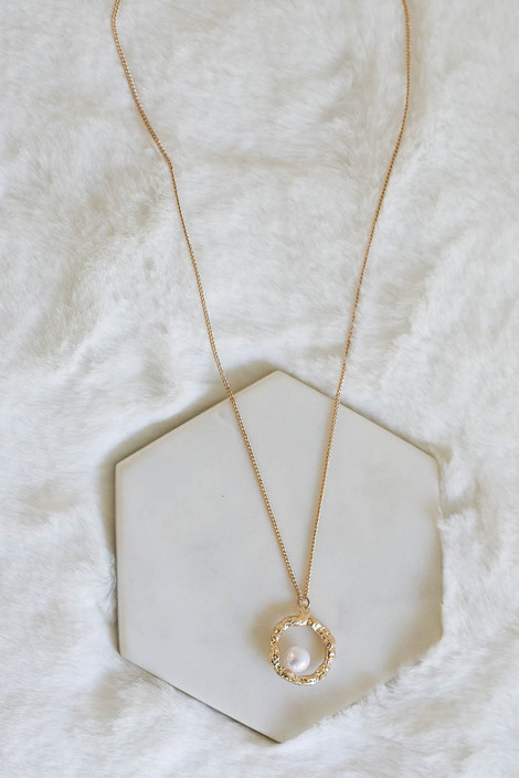 Gold - Pearl and Circle Charm Necklace Flat Lay