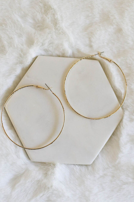 Gold - Simple Textured Hoops from Dress Up Boutique