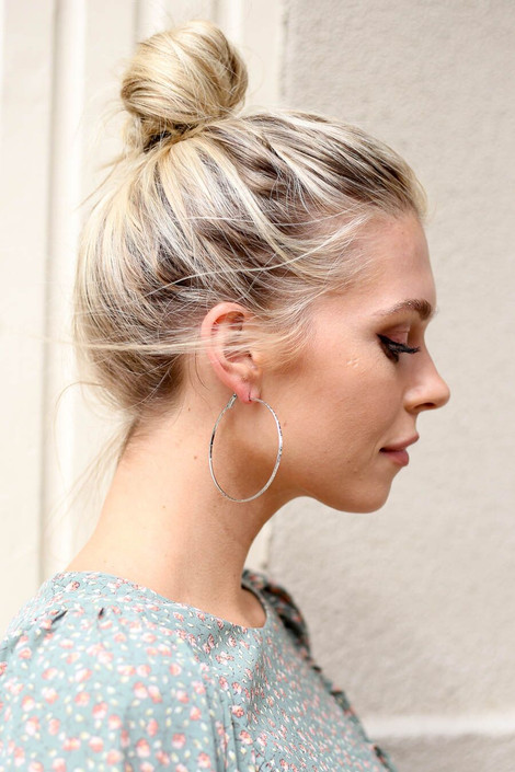 Silver - Simple Textured Hoops from Dress Up Boutique