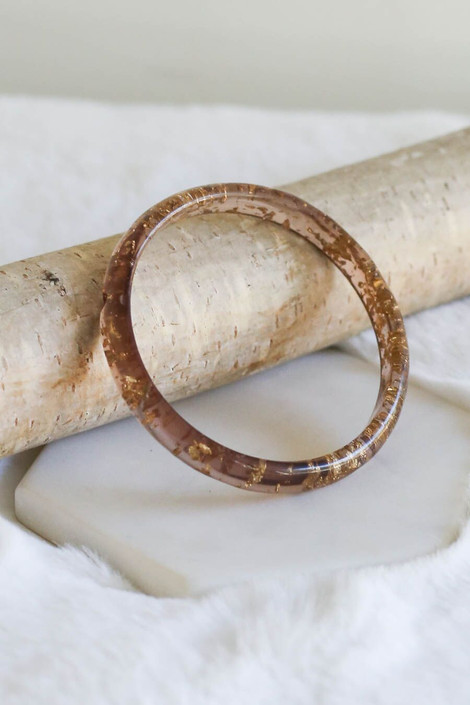 Clear - Acrylic Gold Flake Bangles from Dress Up Boutique