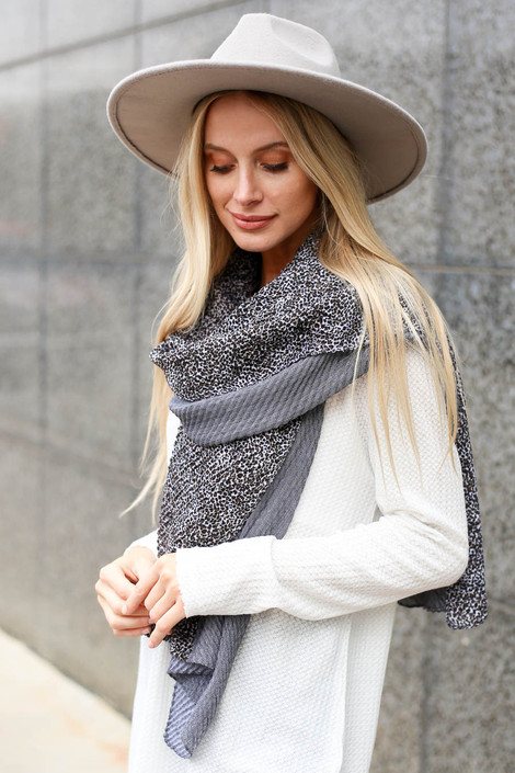 Grey - Leopard Print Contrast Scarf on Model