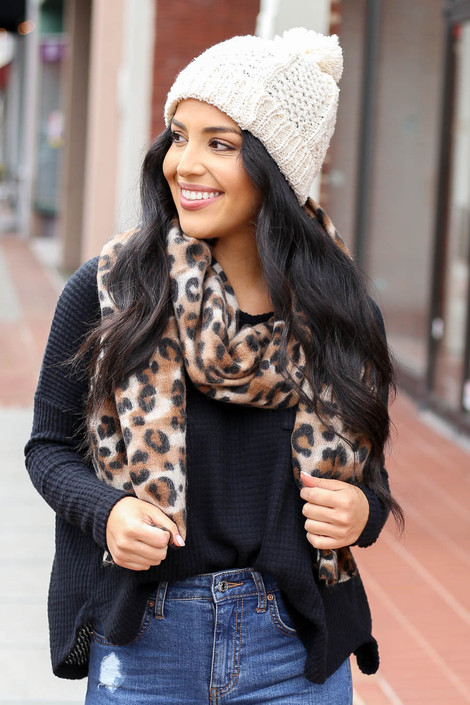 Leopard - Printed Fleece Scarf