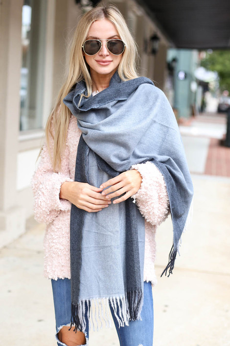 Taupe - Fringe Plaid Scarf Wrap View
