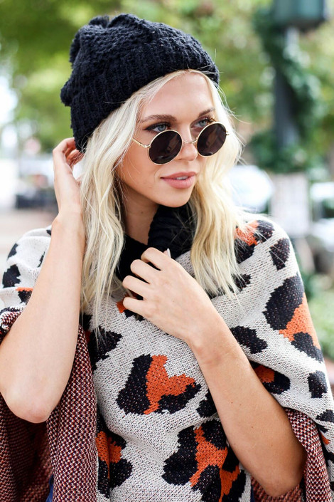 Black - Knit Pom Pom Beanie from Shop Dress Up