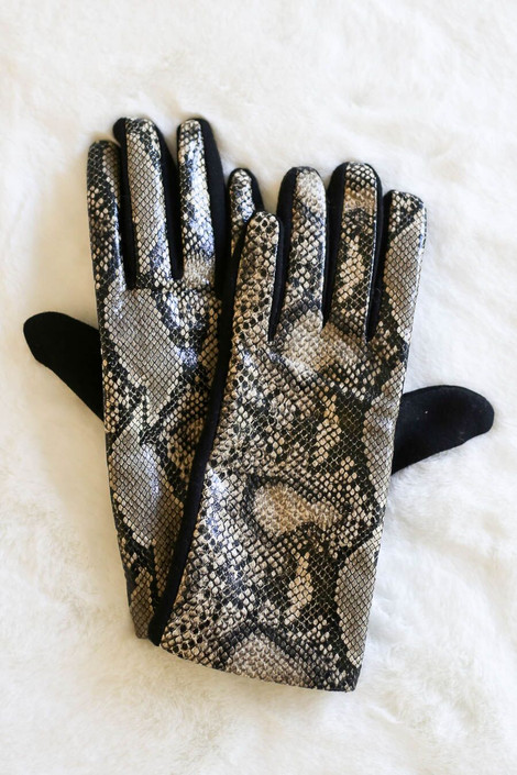 Taupe - Snakeskin Faux Fur Lined Gloves from Dress Up Boutique