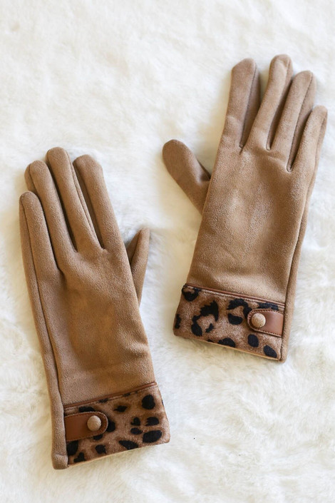 Taupe - Leopard Faux Fur Lined Gloves from Dress Up Boutique