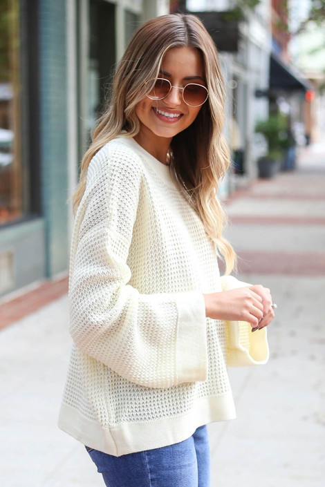 Ivory - Loose Knit Wide Sleeve Sweater from Dress Up Boutique