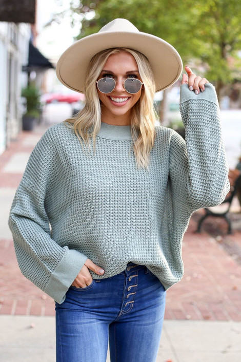 Sage - Loose Knit Wide Sleeve Sweater from Dress Up Boutique