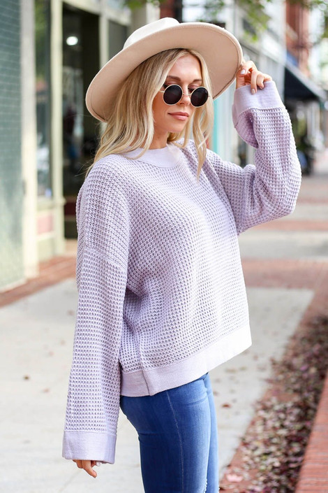 Mauve - Loose Knit Wide Sleeve Sweater from Dress Up Boutique