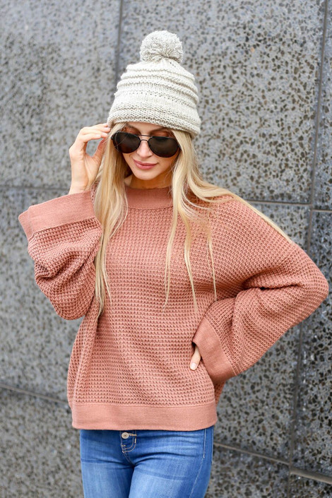 Blush - Loose Knit Wide Sleeve Sweater from Dress Up Boutique