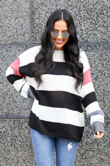 Dress Up Model wearing Striped Lightweight Knit Sweater - Front View