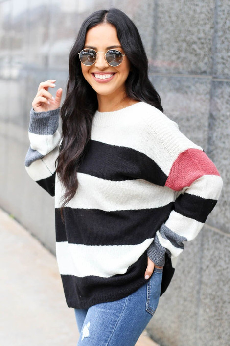 Ivory - Striped Lightweight Knit Sweater from Dress Up Boutique