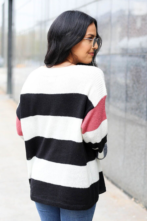 Dress Up Model wearing Striped Lightweight Knit Sweater - Back View