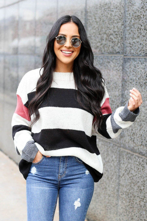 Ivory - Dress Up Model wearing Striped Lightweight Knit Sweater Front View