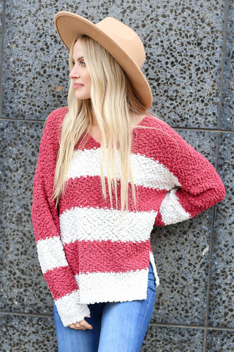 Marsala - Striped Popcorn Knit Sweater Front View