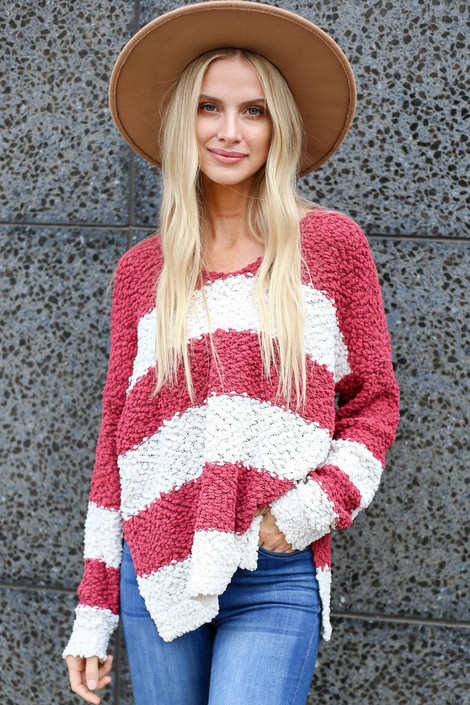 Marsala - Striped Popcorn Knit Sweater